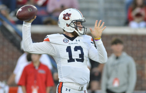 Oct 29, 2016; Oxford, MS, USA; Auburn Tigers quarterback Sean White (13) warms up prior to the game against the Mississippi Rebels at Vaught-Hemingway Stadium. Mandatory Credit: Matt Bush-USA TODAY Sports