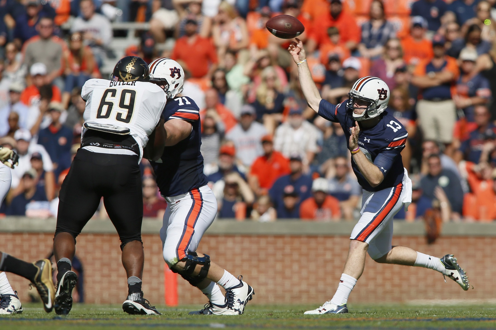 Nov 5, 2016; Auburn, AL, USA; Auburn Tigers quarterback Sean White (13) throws a pass against the Vanderbilt Commodores during the third quarter at Jordan Hare Stadium. The Tigers beat the Commodores 23-16. Mandatory Credit: John Reed-USA TODAY Sports