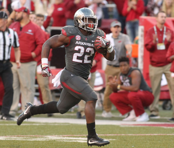 Nov 5, 2016; Fayetteville, AR, USA; Arkansas Razorbacks running back Rawleigh Williams III (22) rushes for a touchdown in the second half against the Florida Gators at Donald W. Reynolds Razorback Stadium. Arkansas defeated Florida 31-10. Mandatory Credit: Nelson Chenault-USA TODAY Sports