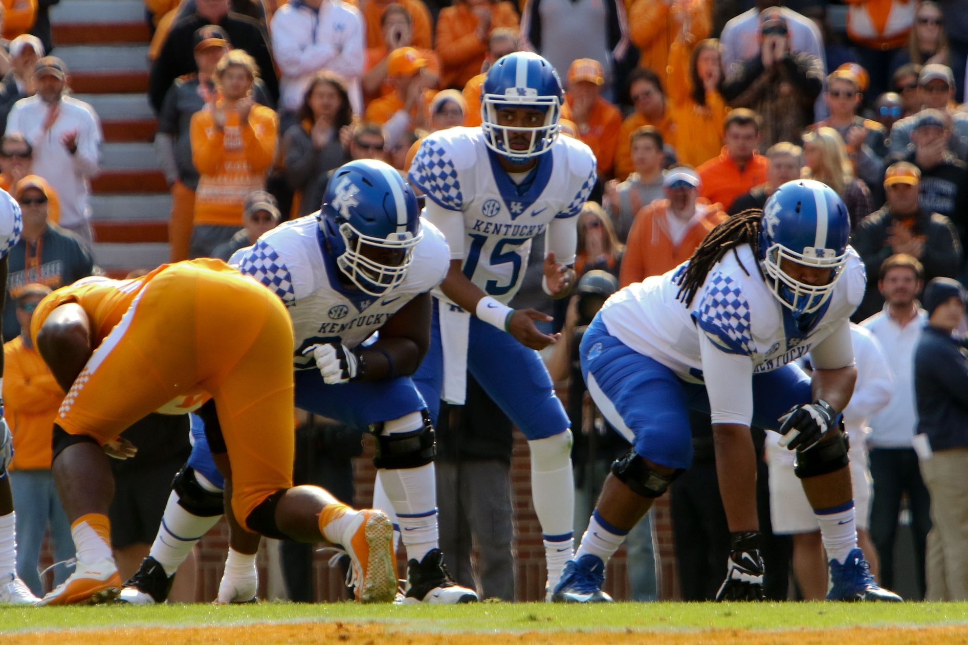 Nov 12, 2016; Knoxville, TN, USA; Kentucky Wildcats quarterback Stephen  Johnson (15) during the first half against the Tennessee Volunteers at Neyland Stadium. Mandatory Credit: Randy Sartin-USA TODAY Sports