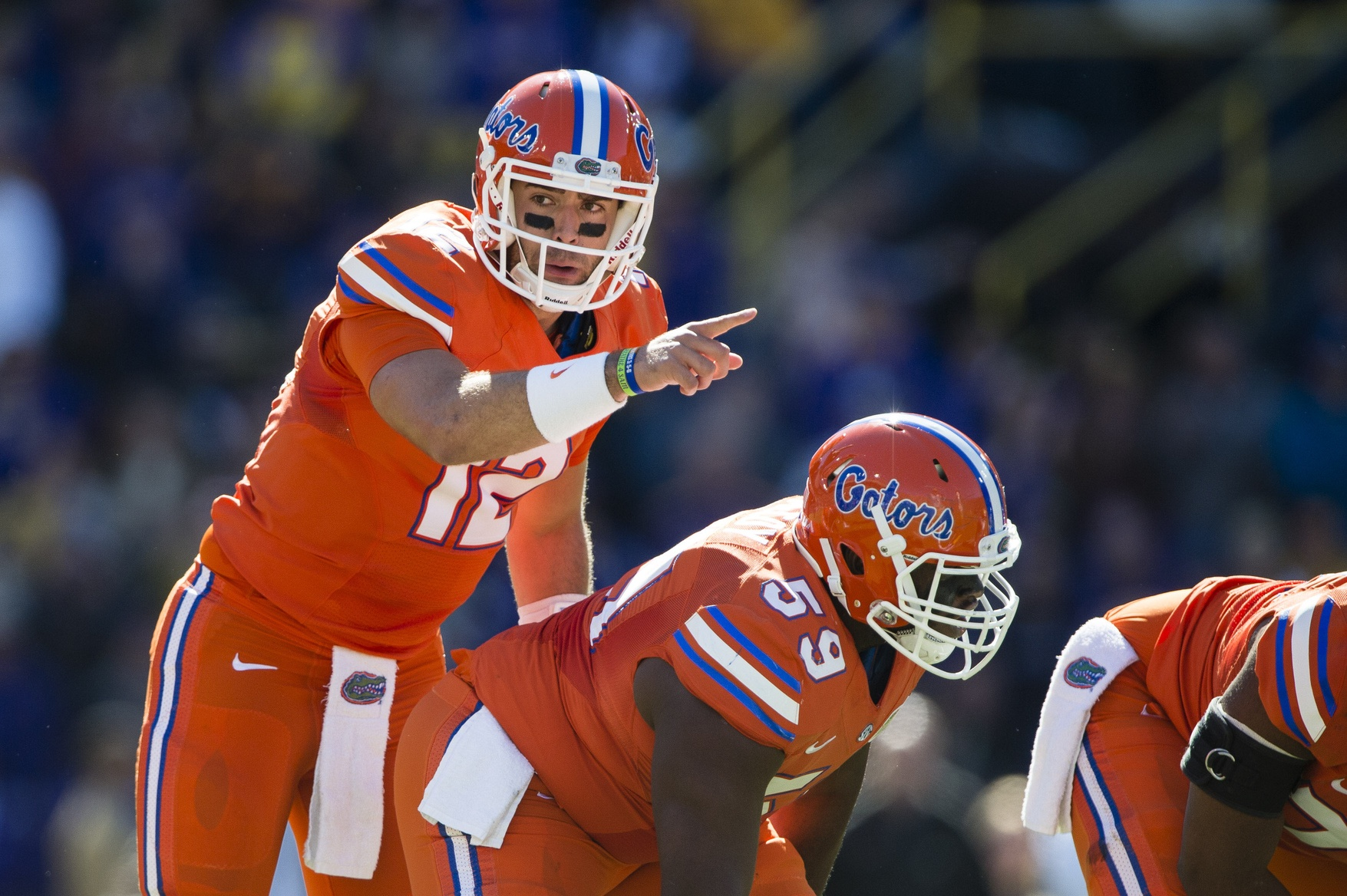 Nov 19, 2016; Baton Rouge, LA, USA; Florida Gators quarterback Austin Appleby (12) sets the play against the LSU Tigers during the first quarter at Tiger Stadium. Mandatory Credit: Jerome Miron-USA TODAY Sports