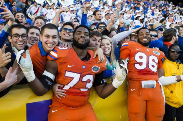 Nov 19, 2016; Baton Rouge, LA, USA; Florida Gators offensive lineman Martez Ivey (73) and defensive lineman Cece Jefferson (96) celebrate the win over the LSU Tigers at Tiger Stadium. The Gators defeat the Tigers 16-10. Mandatory Credit: Jerome Miron-USA TODAY Sports
