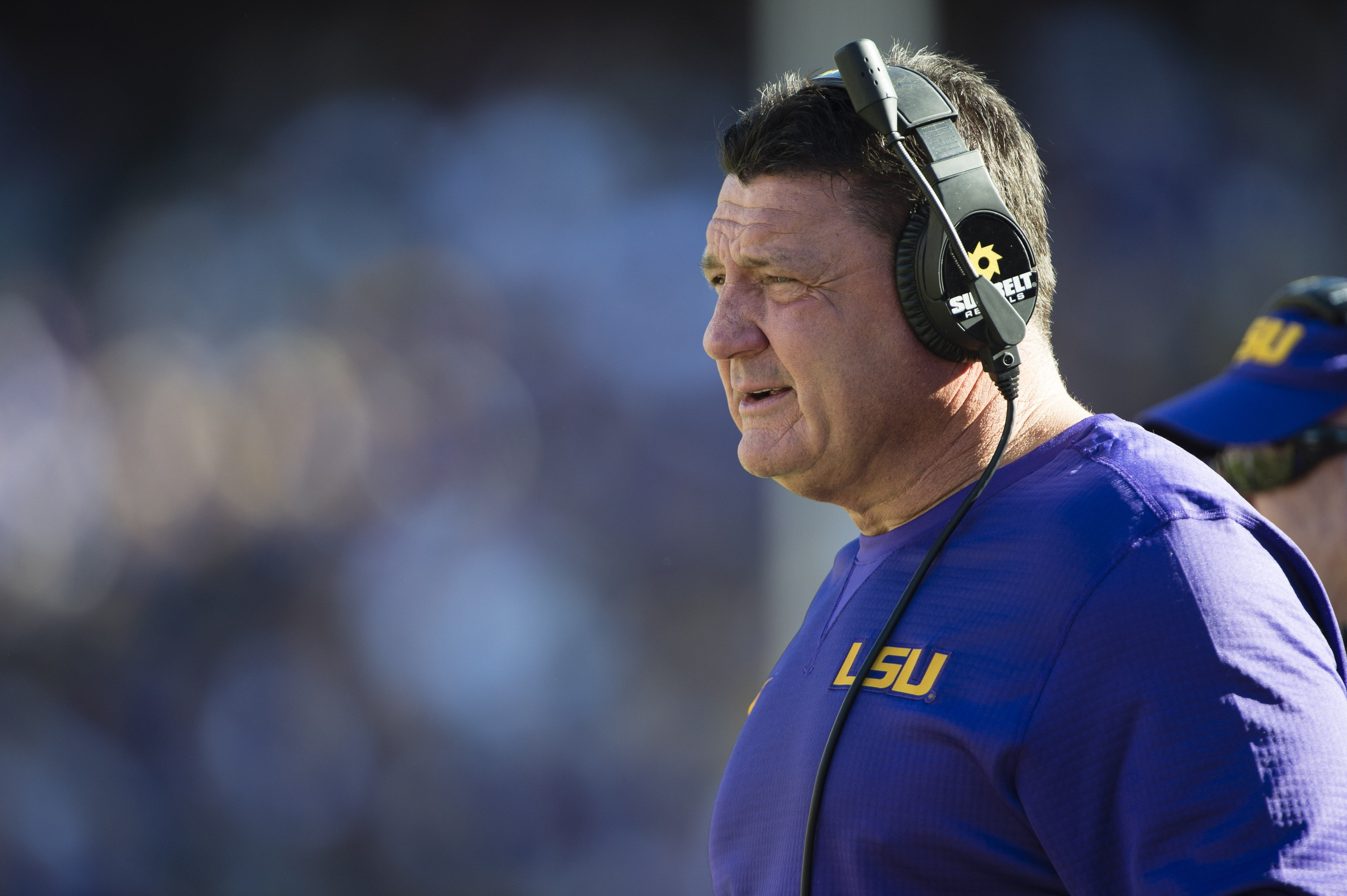 Nov 19, 2016; Baton Rouge, LA, USA; LSU Tigers interim head coach Ed Orgeron watches his team take on the Florida Gators during the second half at Tiger Stadium. The Gators defeat the Tigers 16-10. Mandatory Credit: Jerome Miron-USA TODAY Sports