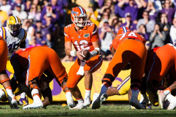 Nov 19, 2016; Baton Rouge, LA, USA; Florida Gators quarterback Austin Appleby (12) in action during the game against the LSU Tigers at Tiger Stadium. The Gators defeat the Tigers 16-10. Mandatory Credit: Jerome Miron-USA TODAY Sports