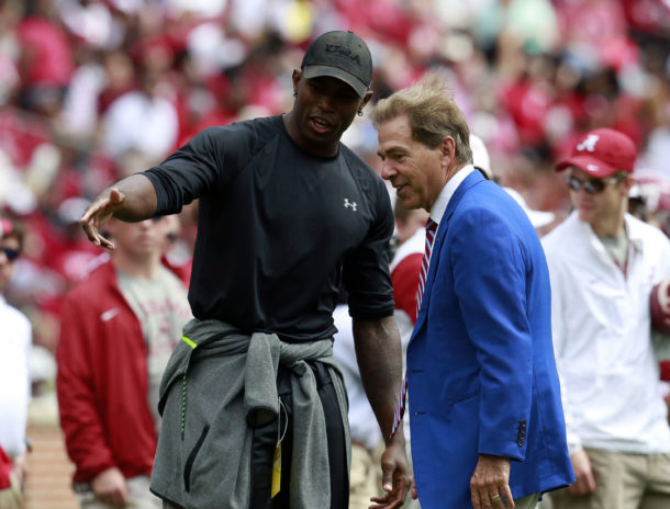 Apr 16, 2016; Tuscaloosa, AL, USA; Alabama Crimson Tide head coach Nick Saban talks with Julio Jones (not shown) during the annual A-day game at Bryant-Denny Stadium. Mandatory Credit: Marvin Gentry-USA TODAY Sports