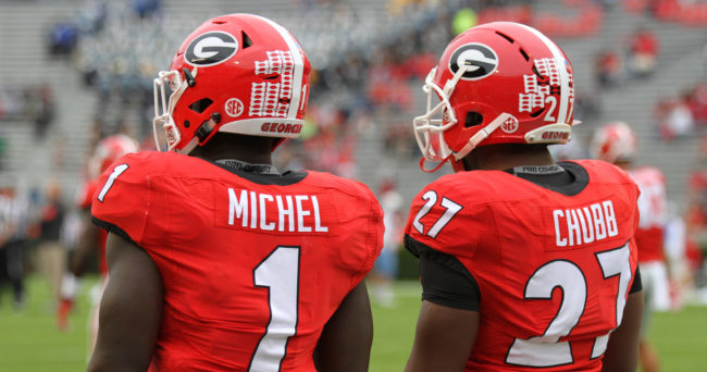 Georgia tailback Sony Michel (1), tailback Nick Chubb (27) (Photo by Cal Powell)