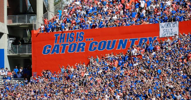 Nov 7, 2015; Gainesville, FL, USA; A general view of Florida Gators fans cheering in the Swamp during the first quarter against the Vanderbilt Commodores at Ben Hill Griffin Stadium. Mandatory Credit: Kim Klement-USA TODAY Sports