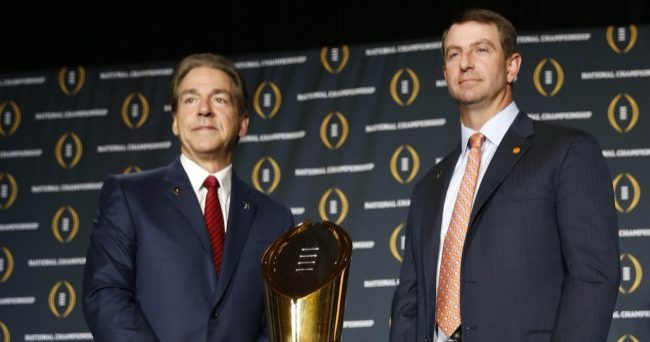 January 10, 2016; Scottsdale, AZ, USA; Clemson Tigers head coach Dabo Swinney and Alabama Crimson Tide head coach Nick Saban pose in advance of the College Football Playoff championship at JW Marriott Camelback Inn. Mandatory Credit: Erich Schlegel-USA TODAY Sports