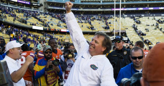 Nov 19, 2016; Baton Rouge, LA, USA; Florida Gators head coach Jim McElwain celebrates the win over the LSU Tigers at Tiger Stadium. The Gators defeat the Tigers 16-10. Mandatory Credit: Jerome Miron-USA TODAY Sports