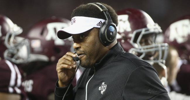 Nov 24, 2016; College Station, TX, USA; Texas A&M Aggies head coach Kevin Sumlin on the sideline during the game against the LSU Tigers at Kyle Field. Mandatory Credit: Troy Taormina-USA TODAY Sports