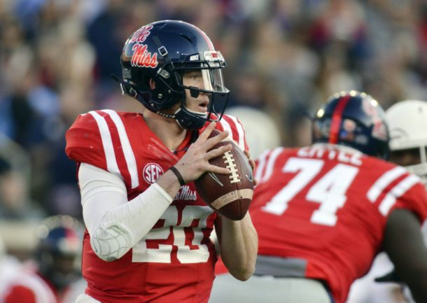 Nov 26, 2016; Oxford, MS, USA; Mississippi Rebels quarterback Shea Patterson (20) moves in the pocket during the second quarter of the game against the Mississippi State Bulldogs at Vaught-Hemingway Stadium. Mandatory Credit: Matt Bush-USA TODAY Sports