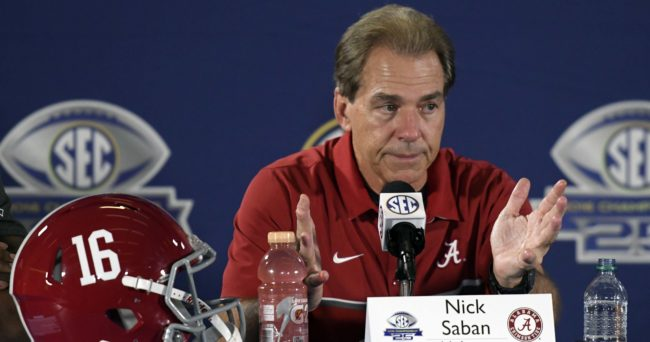 Dec 3, 2016; Atlanta, GA, USA; Alabama Crimson Tide head coach Nick Saban speaks to the press after the SEC Championship college football game against the Florida Gators at Georgia Dome. Alabama Crimson Tide won 54-16. Mandatory Credit: Dale Zanine-USA TODAY Sports