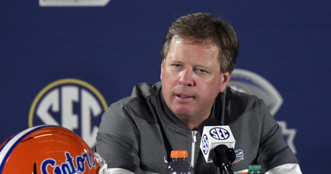 Dec 3, 2016; Atlanta, GA, USA; Florida Gators head coach Jim McElwain speaks to the press after the SEC Championship college football game against the Alabama Crimson Tide at Georgia Dome. Alabama Crimson Tide won 54-16. Mandatory Credit: Dale Zanine-USA TODAY Sports