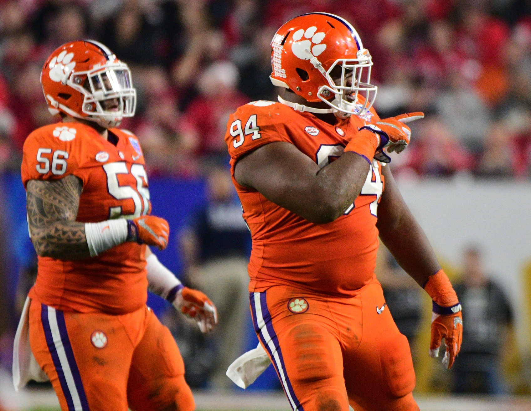 Dec 31, 2016; Glendale, AZ, USA; Clemson Tigers defensive tackle Carlos Watkins (94) reacts during the fourth quarter in the 2016 CFP semifinal against the Ohio State Buckeyes at University of Phoenix Stadium. Mandatory Credit: Matt Kartozian-USA TODAY Sports