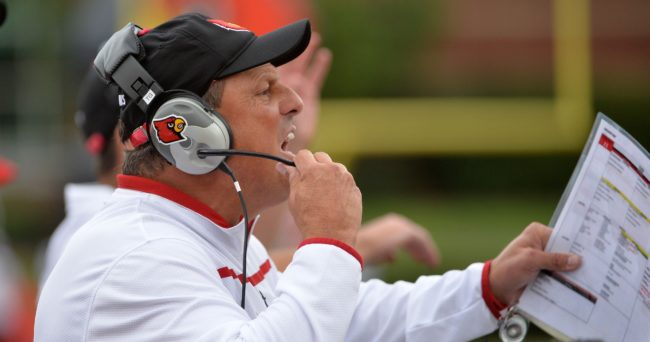 Sep 12, 2015; Louisville, KY, USA; Louisville Cardinals defensive coordinator Todd Grantham calls out instructions during second half against the Houston Cougars at Papa John's Cardinal Stadium. Houston defeated Louisville 34-31. Mandatory Credit: Jamie Rhodes-USA TODAY Sports