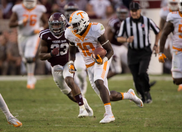 Oct 8, 2016; College Station, TX, USA; Tennessee Volunteers wide receiver Tyler Byrd (10) in action during the game against the Texas A&M Aggies at Kyle Field. The Aggies defeat the Volunteers 45-38 in overtime. Mandatory Credit: Jerome Miron-USA TODAY Sports