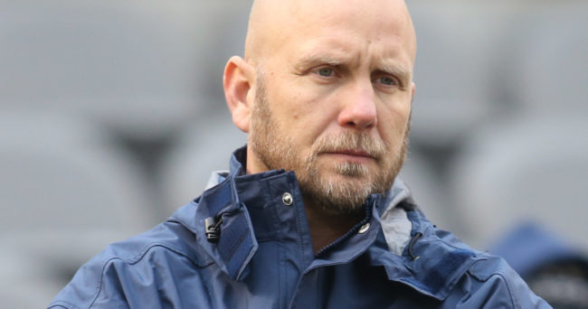 Nov 26, 2016; Pittsburgh, PA, USA;  Pittsburgh Panthers offensive coordinator Matt Canada looks on during warm-ups before the Panthers host the Syracuse Orange at Heinz Field. Pittsburgh won 76-61. Mandatory Credit: Charles LeClaire-USA TODAY Sports