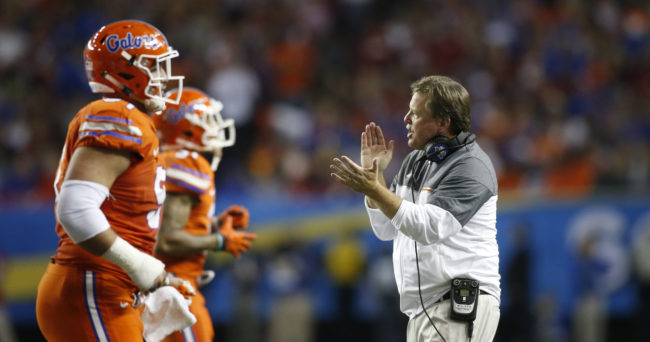 Dec 3, 2016; Atlanta, GA, USA; Florida Gators head coach Jim McElwain reacts during the second quarter of the SEC Championship college football game against the Alabama Crimson Tide at Georgia Dome. Mandatory Credit: Brett Davis-USA TODAY Sports