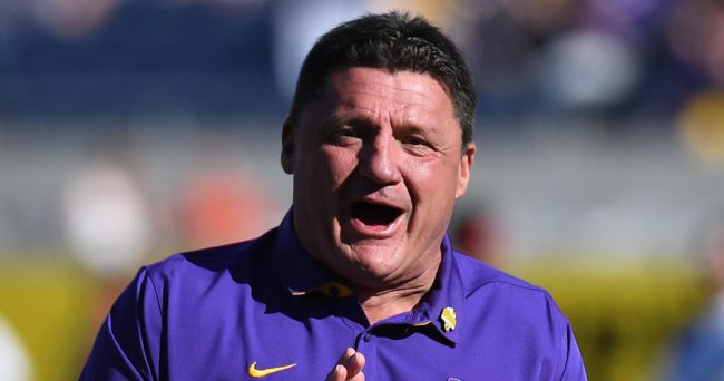 Dec 31, 2016; Orlando , FL, USA;  LSU Tigers head coach Ed Orgeron works with his team before the game against the Louisville Cardinals at the Buffalo Wild Wings Citrus Bowl at Camping World Stadium. Mandatory Credit: Jonathan Dyer-USA TODAY Sports