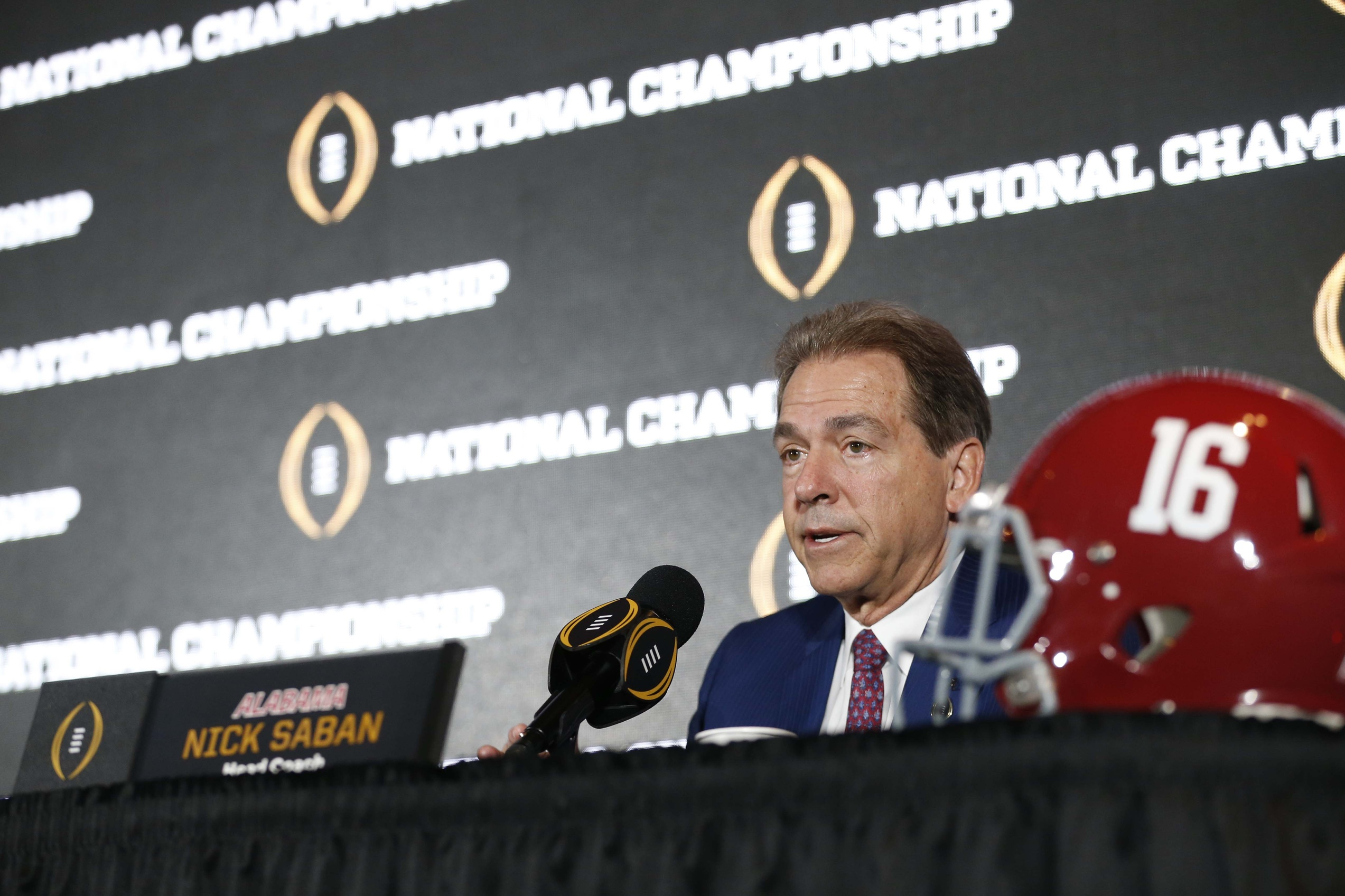 Jan 8, 2017; Tampa, FL, USA; Alabama Crimson Tide head coach Nick Saban speaks to media during the head coaches news conference at the Tampa Convention Center. Mandatory Credit: Kim Klement-USA TODAY Sports