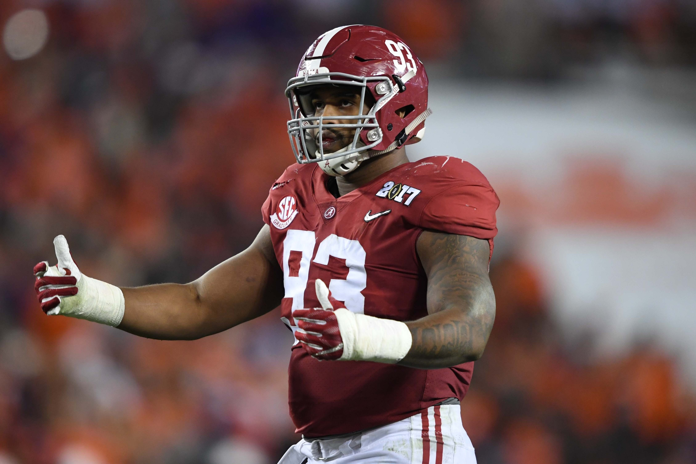 Jan 9, 2017; Tampa, FL, USA; Alabama Crimson Tide defensive lineman Jonathan Allen (93) reacts during the second quarter against the Clemson Tigers in the 2017 College Football Playoff National Championship Game at Raymond James Stadium. Mandatory Credit: John David Mercer-USA TODAY Sports