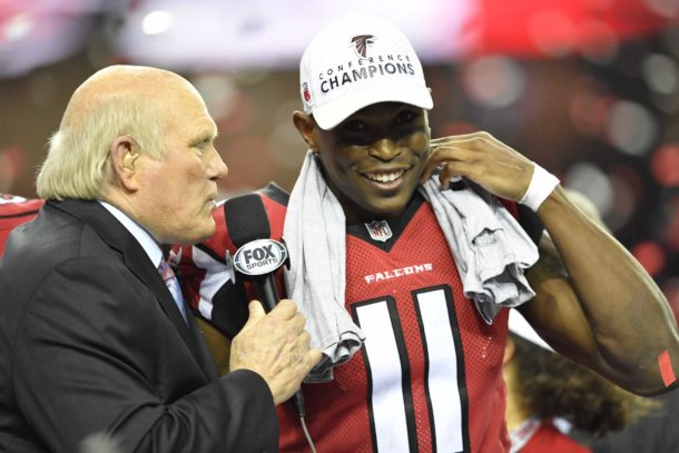 Jan 22, 2017; Atlanta, GA, USA; TV analyst Terry Bradshaw interviews Atlanta Falcons wide receiver Julio Jones (11) after the game against the Green Bay Packers in the 2017 NFC Championship Game at the Georgia Dome. Atlanta defeated Green Bay 44-21. Mandatory Credit: Dale Zanine-USA TODAY Sports
