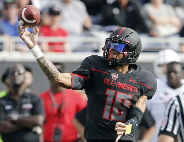 Jan 2, 2016; Orlando, FL, USA; Team Armour's Jarrett Guarantano throws a pass against Team Highlight during the second half of the Under Armour All American Football Game at the Orlando Citrus Bowl. Team Highlight beat Team Armour 27-0. Mandatory Credit: Reinhold Matay-USA TODAY Sports