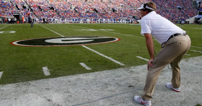 Oct 29, 2016; Jacksonville, FL, USA; Georgia Bulldogs head coach Kirby Smart looks on against the Florida Gators during the first half at EverBank Field. Mandatory Credit: Kim Klement-USA TODAY Sports