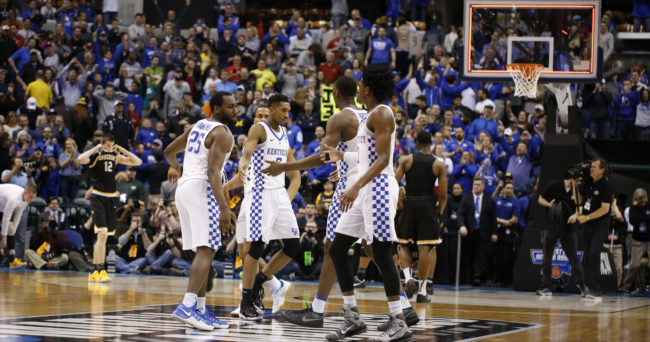 Mar 19, 2017; Indianapolis, IN, USA; Kentucky Wildcats players celebrate after defeating the Wichita State Shockers in the second round of the 2017 NCAA Tournament at Bankers Life Fieldhouse. Mandatory Credit: Brian Spurlock-USA TODAY Sports