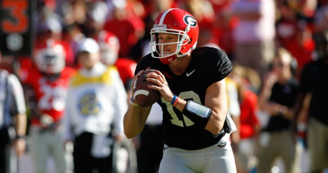 Apr 16, 2016; Athens, GA, USA; Georgia Bulldogs quarterback Brice Ramsey (12) looks for a receiver during the second half of the spring game at Sanford Stadium. The Black team defeated the Red team 34-14. Mandatory Credit: Brett Davis-USA TODAY Sports