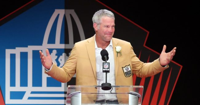 Aug 6, 2016; Canton, OH, USA; Former Green Bay Packers quarterback Brett Favre gives his acceptance speech during the 2016 NFL Hall of Fame enshrinement at Tom Benson Hall of Fame Stadium. Mandatory Credit: Charles LeClaire-USA TODAY Sport