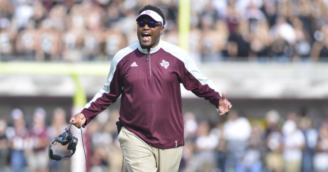 Nov 5, 2016; Starkville, MS, USA; Texas A&M Aggies head coach Kevin Sumlin reacts after a penalty during the first quarter of the game against the Mississippi State Bulldogs at Davis Wade Stadium. Mandatory Credit: Matt Bush-USA TODAY Sports