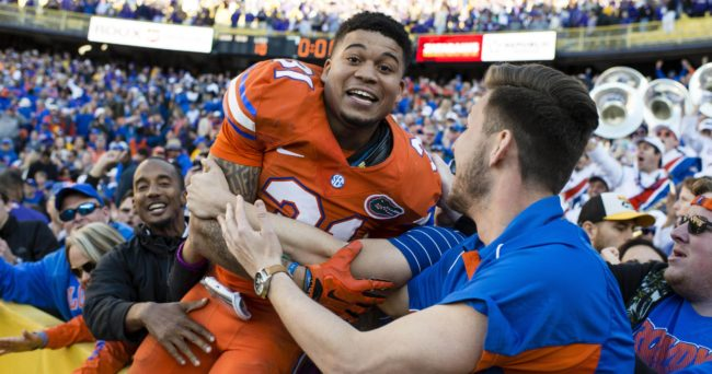 Nov 19, 2016; Baton Rouge, LA, USA; Florida Gators defensive back Teez Tabor (31) celebrates the win over the LSU Tigers at Tiger Stadium. The Gators defeat the Tigers 16-10. Mandatory Credit: Jerome Miron-USA TODAY Sports