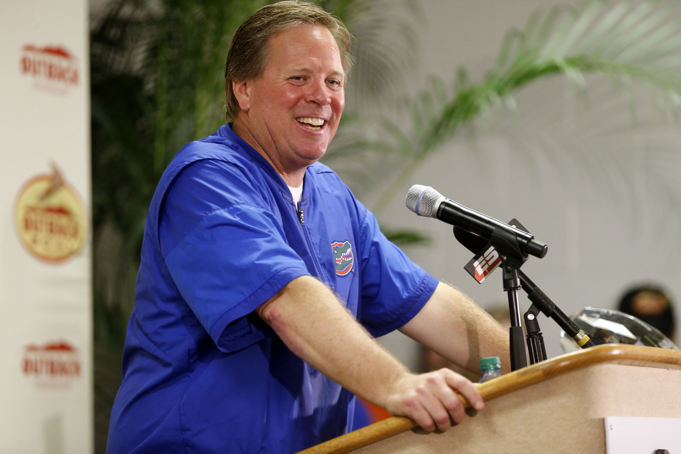 Jan 2, 2017; Tampa , FL, USA; Florida Gators head coach Jim McElwain speaks to the media while presentint the trophy during a press conference after defeating Iowa Hawkeyes 30-3 at Raymond James Stadium. Mandatory Credit: Kim Klement-USA TODAY Sports