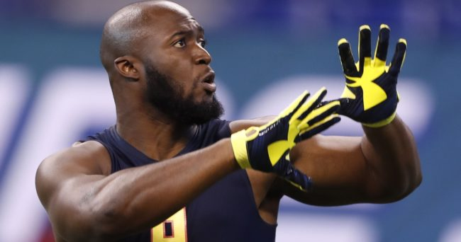 Mar 3, 2017; Indianapolis, IN, USA; LSU Tigers running back Leonard Fournette goes through workout drills during the 2017 NFL Combine at Lucas Oil Stadium. Mandatory Credit: Brian Spurlock-USA TODAY Sports