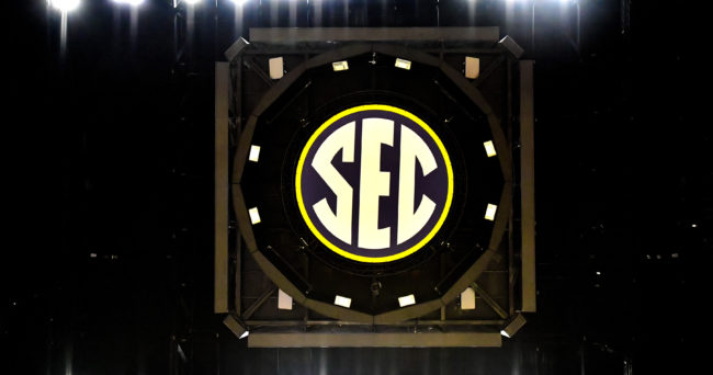 Mar 12, 2017; Nashville, TN, USA; SEC logo under the scoreboard at center court inside Bridgestone Arena prior to the championship game of the SEC Conference Tournament between the Kentucky Wildcats and the Arkansas Razorbacks. Mandatory Credit: Jim Brown-USA TODAY Sports