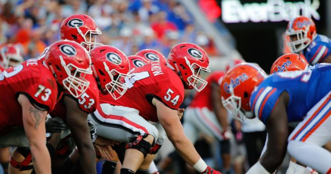 Oct 29, 2016; Jacksonville, FL, USA; Georgia Bulldogs offensive line lines up with the Florida Gators defensive line at the line of scrimmage during the first half at EverBank Field. Mandatory Credit: Kim Klement-USA TODAY Sports