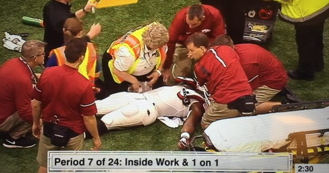Arkansas star running back leaves practice in ambulance