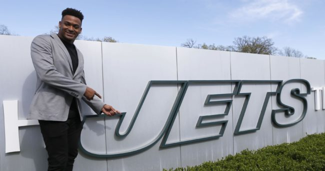 Apr 28, 2017; Florham Park, NJ, USA; New York Jets first round draft pick Jamal Adams during a press conference at the Atlantic Health Training Center. Mandatory Credit: Noah K. Murray-USA TODAY Sports