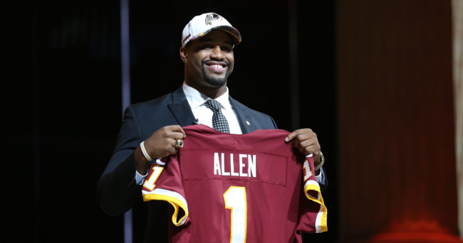 Apr 27, 2017; Philadelphia, PA, USA; Jonathan Allen (Alabama) is selected as the number 17 overall pick to the Washington Redskins in the first round the 2017 NFL Draft at the Philadelphia Museum of Art. Mandatory Credit: Bill Streicher-USA TODAY Sports