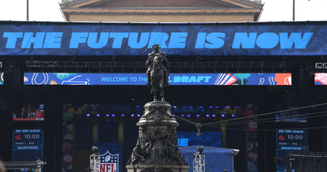 Apr 27, 2017; Philadelphia, PA, USA; A general view of the draft theater before the start of the 2017 NFL Draft at the Philadelphia Museum of Art. Mandatory Credit: Kirby Lee-USA TODAY Sports