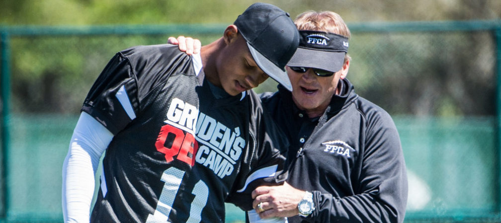 Bay Lake, FL - March 16, 2017 - Wide World of Sports: Josh Dobbs and Jon Gruden during the 2017 class at Gruden Camp (Photo by Heather Harvey / ESPN Images)