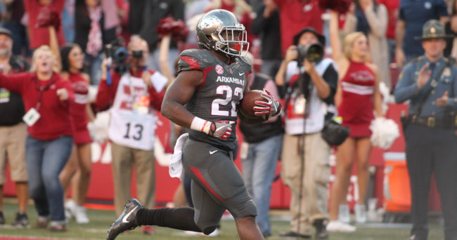 Arkansas star running back hospitalized after leaving practice in ambulance