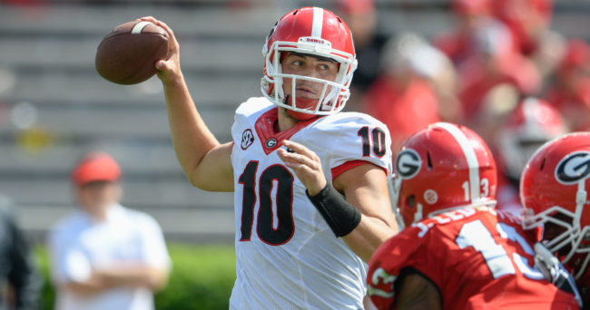 Apr 22, 2017; Athens, GA, USA; Georgia Bulldogs black team quarterback Jacob Eason (10) passes against the red team during the second half during the Georgia Spring Game at Sanford Stadium. Red defeated Black 25-22. Mandatory Credit: Dale Zanine-USA TODAY Sports