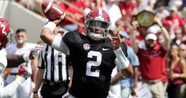 Apr 22, 2017; Tuscaloosa, AL, USA; Alabama Crimson Tide quarterback Jalen Hurts (2) passes during the A-day game at Bryant Denny Stadium. Mandatory Credit: Marvin Gentry-USA TODAY Sports