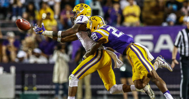 Apr 22, 2017; Baton Rouge, LA, USA; LSU Tigers defensive back Andraez Williams (29) knocks the ball free from wide receiver D.J. Chark (7) during the second quarter of the annual LSU Tigers purple-gold spring game at Tiger Stadium. Mandatory Credit: Stephen Lew-USA TODAY Sports
