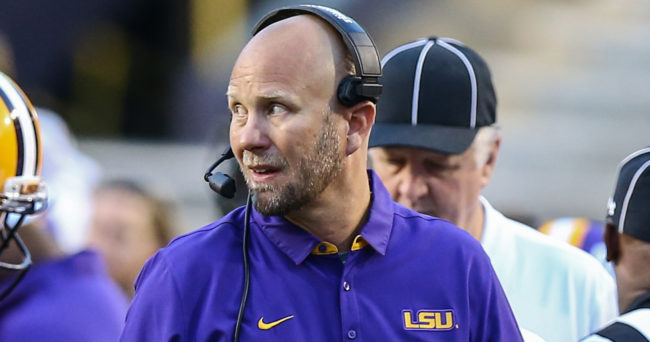 Apr 22, 2017; Baton Rouge, LA, USA; LSU offensive coordinator Matt Canada during the second quarter of the annual Louisiana State Tigers purple-gold spring game at Tiger Stadium. Purple team won 7-3. Mandatory Credit: Stephen Lew-USA TODAY Sports