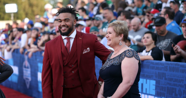 Apr 27, 2017; Philadelphia, PA, USA; Derek Barnett (Tennessee) poses for a photo with his mother Christine Barnett (right) on the red carpet before the start of the NFL Draft at Philadelphia Museum of Art. Mandatory Credit: Bill Streicher-USA TODAY Sports
