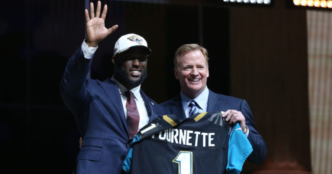 Apr 27, 2017; Philadelphia, PA, USA; Leonard Fournette (LSU) poses with NFL commissioner Roger Goodell as he is selected as the number 4 overall pick to the Jacksonville Jaguars in the first round the 2017 NFL Draft at Philadelphia Museum of Art. Mandatory Credit: Bill Streicher-USA TODAY Sports