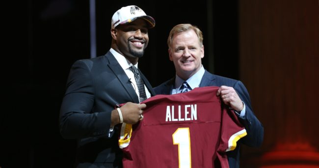 Apr 27, 2017; Philadelphia, PA, USA; Jonathan Allen (Alabama) poses with NFL commissioner Roger Goodell (right) as he is selected as the number 17 overall pick to the Washington Redskins in the first round the 2017 NFL Draft at the Philadelphia Museum of Art. Mandatory Credit: Bill Streicher-USA TODAY Sports